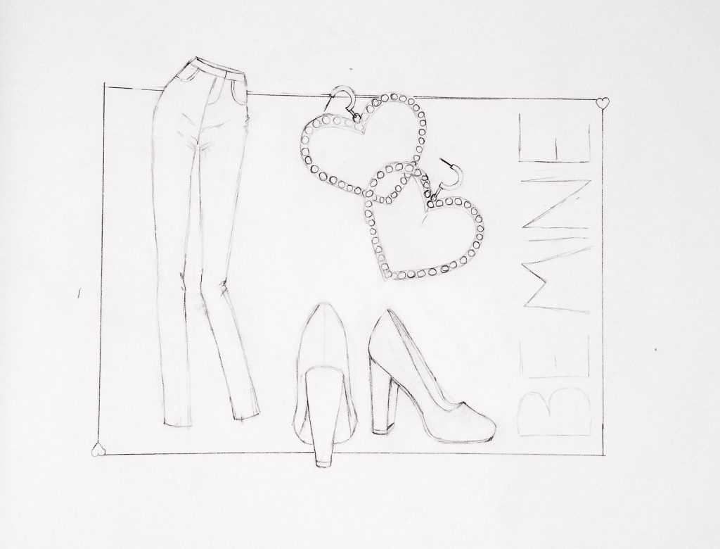 sketching Be Mine of jeans, pumps, and crystal earrings